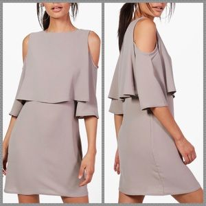 NWT taupe cold shoulder shift dress lace